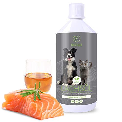 Nutrani Omega-3 Lachsöl für Hunde, Katzen und Pferde | 1 Liter kaltgepresst - Natürliches Fischöl mit Omega 3 + 6 Fettsäuren trägt zur vitalen Haut und glänzendem Fell bei | Ideal beim Barfen