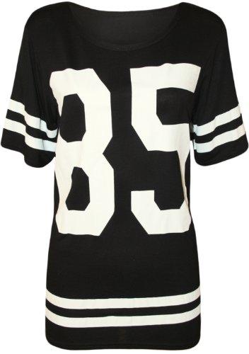 WearAll - Damen '85' Druck Kurzarm Baseball Trikot T-Shirt Top - Schwarz - 36-38