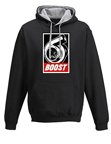 Baddery Petrolhead: Boost - Geschenk für Autoliebhaber - Hoodie für alle Tuning, Drift, und Motorsport Fan - Kapuzen-Pullover Herren Sweatshirt, Schwarz / Grau, 5XL