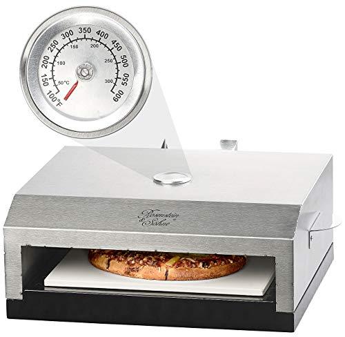 Rosenstein & Söhne Pizzaofen für Gasgrill: Pizzaofen-Grillaufsatz mit Steinplatte & Temperaturanzeige bis 300 °C (Pizza Aufsatz)