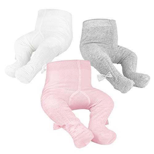 OioTuyi Baby Strickstrumpfhose Nahtlose Baumwollgamaschen 3er Pack Strumpfhose für Mädchen Neugeborene Kleinkinder Kleinkinder 0-2Y(Pink&White&Gray_1-2 Y)