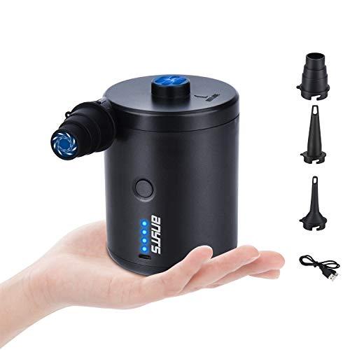 Anyts Elektrische Luftpumpe, 4000mAh Akku Pumpe Inflator & Deflator USB aufladbar Luftpumpe mit 3 Luftdüse für Luftmatratze, Camping Isomatte, Aufblasbares Boot, Poolspielzeug