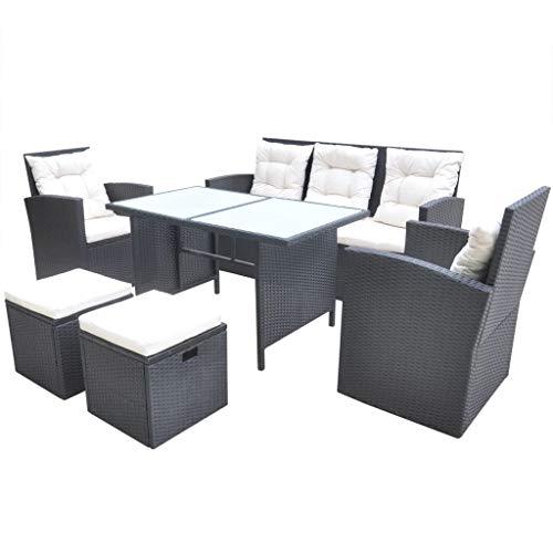 vidaXL Gartenmöbel 18-TLG. Poly Rattan Sitzgarnitur Sitzgruppe Gartengarnitur