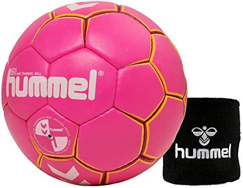 hummel Kinder Handball Kids 091792 Größe 00/0/1 im Set mit Schweißband Old School Small Wristband 99015 (schwarz) (Pink/Yellow (3028), 0)