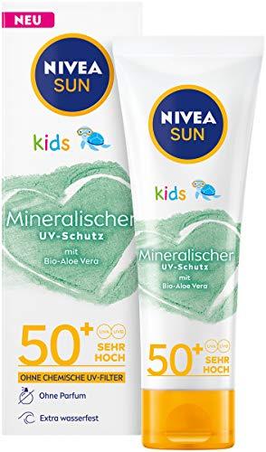 NIVEA SUN Kids 100% Mineralischer Schutz Lotion LFS 50+ (50 ml), extra wasserfeste Kinder Sonnencreme, Sonnenlotion für sofortigen und hochwirksamen UVA/UVB-Schutz
