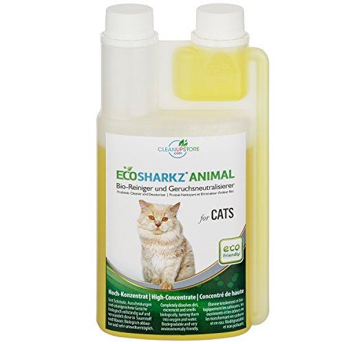 Ecosharkz Geruchsneutralisierer für Katzen - natürlicher Katzenurin Entferner - gegen Katzenklo Geruch (500ml Konzentrat ergeben 25 Liter gebrauchsfertigen Urin-Geruchsentferner)
