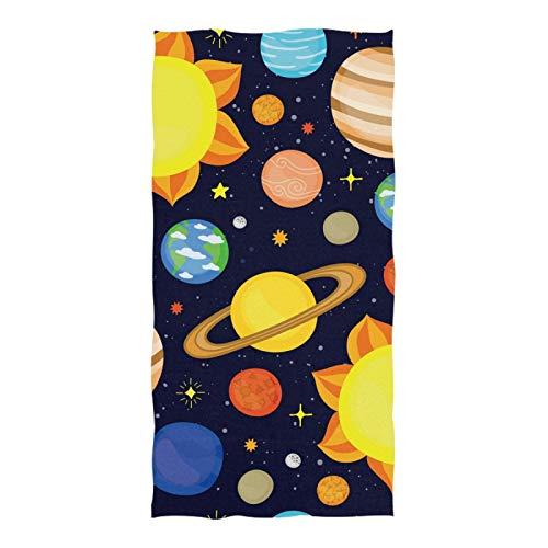 Übergroße Badewanne Badetuch aus weicher Baumwolle 74 Zoll x 37 Zoll für Reisen, Cartoon Cute Cosmic Planet Seamless Pattern