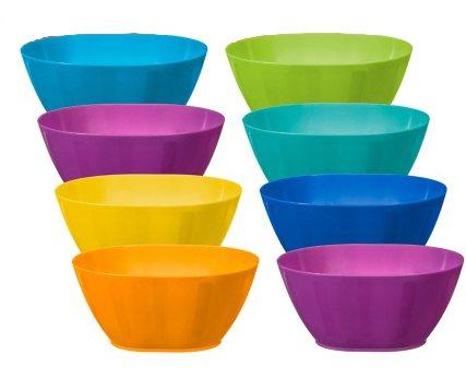 Fingey Kunststoffschüssel, -becher, -teller, für Garten und Picknick, mikrowellengeeignet, in verschiedenen Farben, 8 Stück, plastik, Bowls