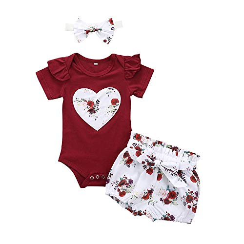 YEBIRAL Babykleidung Set Baby Mädchen Kleidung Kurzarm Body Strampler + Hose + Stirnband Neugeborene Kleinkinder Baumwolle Outfits Set 3 Stück