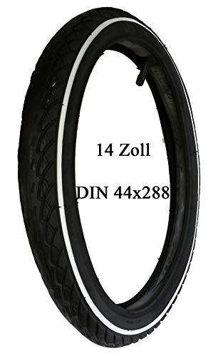 Kinderwagen Reifen Mantel mit weißen Rand + Schlauch 14 x 1 3/8 x 1 5/8 Zoll DIN 44-288