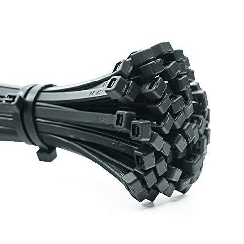 ERKO 100 Stück Profi Kabelbinder 360 x 4,8 mm Kabelkett Kabelhalter Kabelbinderhalter in Schwarz Hitzebeständig