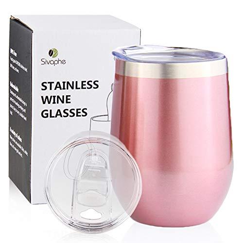 Sivaphe Weinglas Rotwein Kaffeebecher Edelstahl Trinkbecher Camping Travel Mug Doppelwandigen ohne Stiel Isolierte mit 2 Deckeln Rosa Gold 350ML