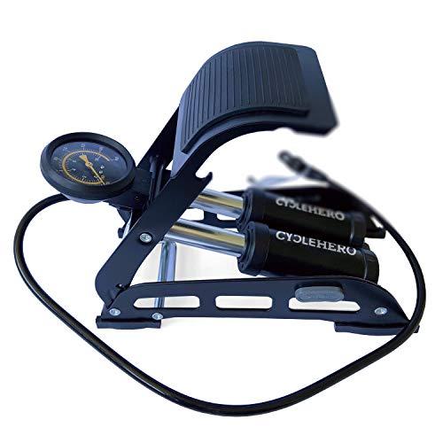 Fußpumpe mit Doppelzylinder - Fußluftpumpe für Alle Ventile - Leistungsstarke Luftpumpe mit Manometer bis 10bar für Vielseitige Anwendung - Hochwertige Tretpumpe von CYCLEHERO