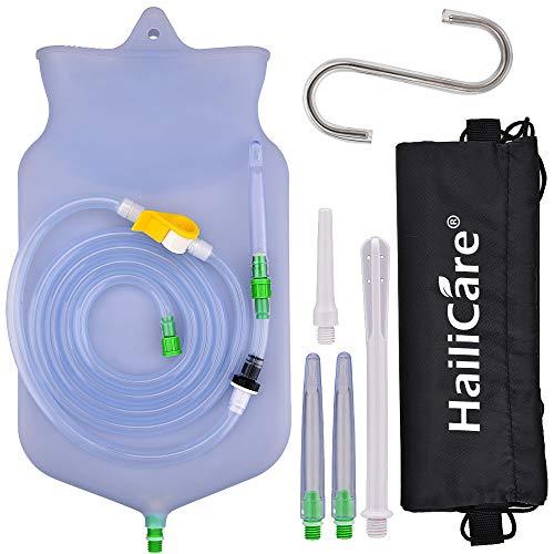 HailiCare Einlauf Set Zur Darmreinigung (BPA & Phthalatfrei) - 2 Liter, 182cm Schlauch Klistier Set In Vollausstattung Für Alle Einläufe - Reise Irrigator Set - 5 Einstecktipps & Aufbewahrungstasche