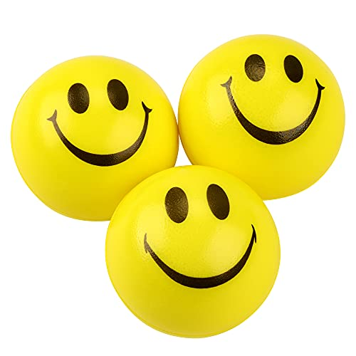 JRing Anti Stress Bälle, Stress Ball, Stress Relief Ball, Smiley Squeezers, Hand Übung Stress Bälle, Perfekt für die Erleichterung Stress Angst (Packung mit 3, Gelb)