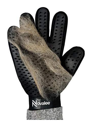 Novalee Haustier Bürsten Handschuh (schwarz) für Hund, Katze & Pferd Fellpflege-Handschuhe Massage und Tierhaar-Entfernung