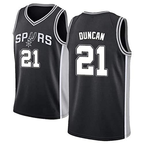XGMJ Tim Duncan Herren Trikot, San Antonio Spurs #21 Retro Vintage Basketball Trikots New Fabric Embroidered Swingman Basketball Jersey Sleeveless Jersey Gr. XL, Schwarz