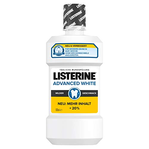 LISTERINE Advanced White milder Geschmack (600 ml), Antibakterielle Mundspülung für weißere Zähne