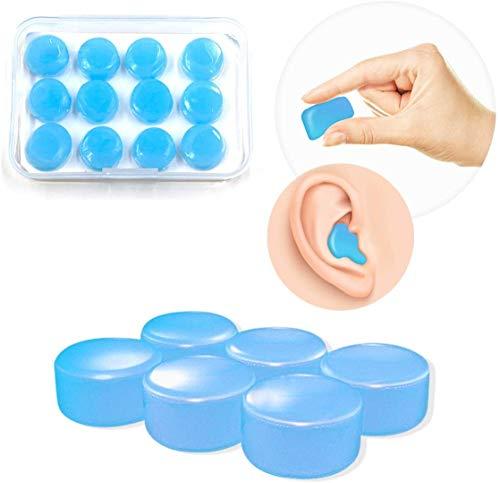 Silikon-Ohrstöpsel, weich, wiederverwendbar, formbar, wasserdicht, Geräuschunterdrückung, Ohrstöpsel zum Schwimmen, Schlafen, Schießen, Flugzeuge, Konzerte, Mähen (blue)