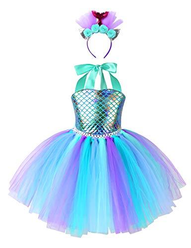 MSemis Meerjungfrau Tütü Kleid Mädchen Ballett Kinder Pailletten Mermaid Prinzessin Kostüm mit Stirnband für Geburtstagsfeier Cosplay Fasching See Grün 116-122