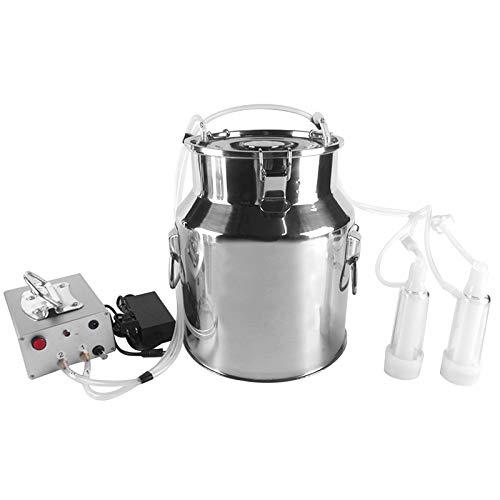 S SMAUTOP Melkmaschine 14L Elektrische Melkmaschine Kit Melkmaschine Vakuumpumpe Melkmaschine mit Reinigungsbürste Minitype Tragbare Doppelkopf Melkmaschine für Kuh Order Ziege