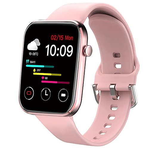 Ezanaki Smartwatch für Damen Herren, 1.69 Zoll Full Touchscreen Fitness Armbanduhr, IP67 Wasserdicht Sportuhr mit Pulsuhr, Schrittzähler, Uhr Schlafmonitor, Fitness Tracker für Android iOS Rosa