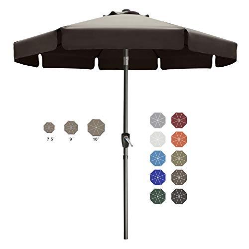 ABCCANOPY 230cm Sonnenschirm im Freien Wasserabweisende Bespannung -Gartenschirm Marktschirm,Braun