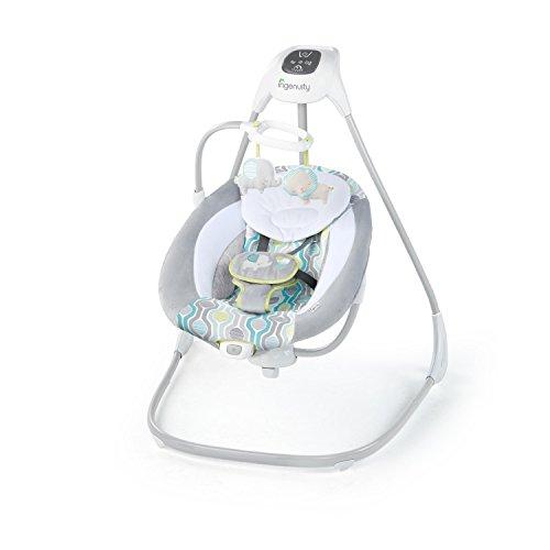 Ingenuity, Everston Babyschaukel, 180° drehbar, 3 Schaukelrichtungen und 6 -geschwindigkeiten, spielt 11 Melodien und weißes Rauschen