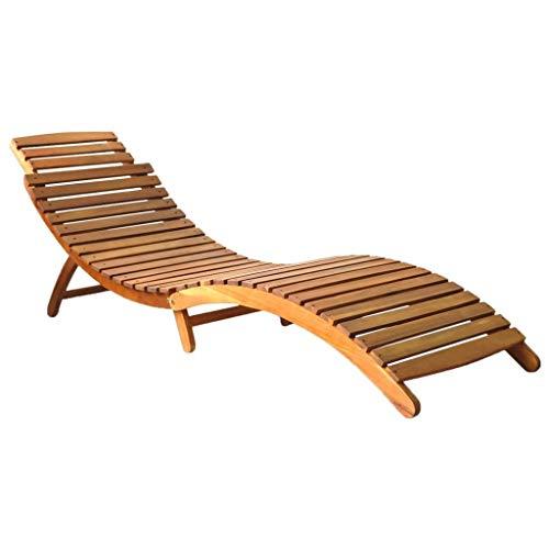 vidaXL Akazienholz Massiv Sonnenliege Klappbar Gartenliege Liegestuhl Holzliege Liege Gartenmöbel Saunaliege Relaxliege Strandliege Braun