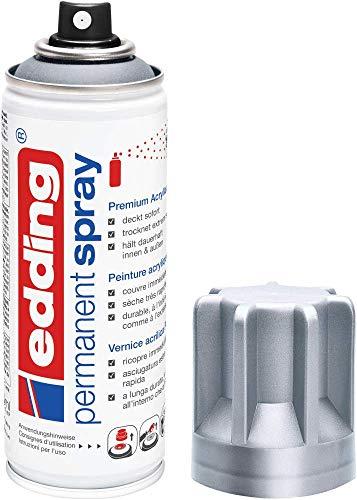 edding 5200 Permanent Spray - silber matt - 200 ml - Acryllack zum Lackieren und Dekorieren von Glas, Metall, Holz, Keramik, Kunststoff, Leinwand - Lackspray, Acrylspray, Farbspray