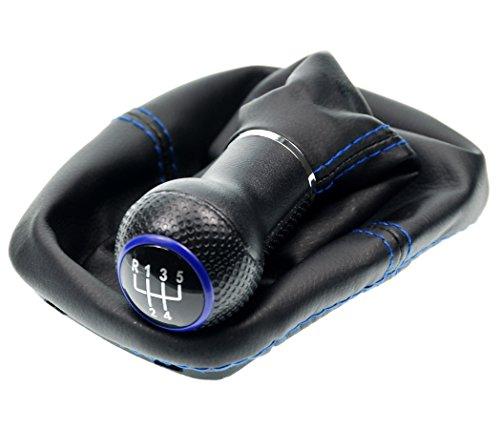 L & P Car Design L&P A252-5 Schaltsack Schaltmanschette Schwarz Naht Blau Schaltknauf 5 Gang 23mm kompatibel mit VW Golf 4 IV Rahmen Knauf Plug Play Ersatzteil für 1J0711113