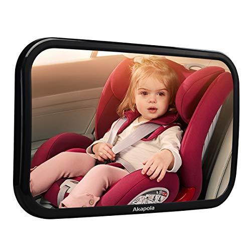 Akapola Rücksitzspiegel für Babys, Spiegel Auto Baby, Auto Rückspiegel für Kindersitz und Babyschale, 360° schwenkbar, Autospiegel in optimaler Größe