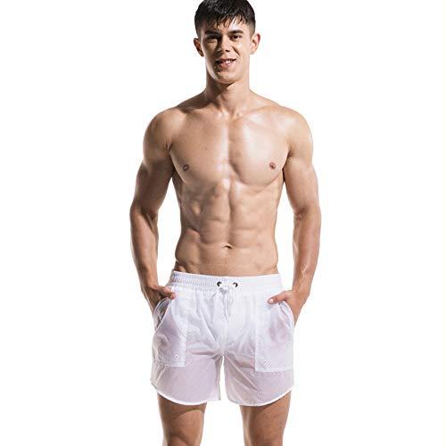 Lantra Besa Herren Badehose Badeshorts Sport Shorts für Sommer Schwimmen Joggen Kurz Schnelltrocknend Einfarbig MEHRWEG (Typ 22) - Weiß (Asiatische Größe L)
