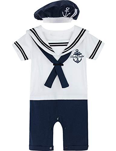 MOMBEBE COSLAND Baby Jungen Matrose Kostüm Strampler with Hüte (9-12 Monate / 100 UK, Weiß)