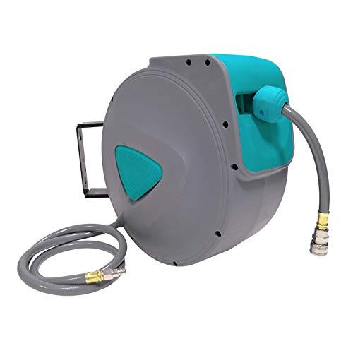 Froadp Automatisch Druckluftschlauch Aufroller 1/4'' Anschluss Schlauchtrommel mit Schlauchstopp und Schnell-Verschlusskupplung - Wandschlauchhalter Druckluftschlauch-trommel(15m, Grau)
