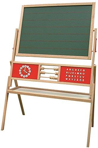 roba Tafel, Standtafel drehbar mit Schreibtafel liniert, Maltafel magnetisch, Uhr, ABC, Abacus und Ablage, Kindertafel Holz, natur