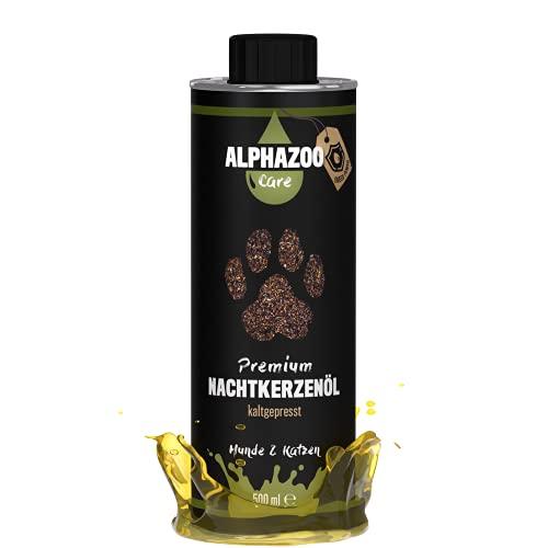 alphazoo Premium Nachtkerzenöl für Hunde & Katzen, Premium Futteröl kaltgepresst Immunsystem, reich an Vitaminen & Mineralstoffen, Zusatz fürs Barf-Futter, recyclebare Weißblechdose ohne BPA