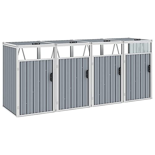 Festnight Mülltonnenbox für 4 Mülltonnen Mülltonnenverkleidung Müllcontainer 4 Tonnen Müllbox Gartenbox Mülltonnenschrank Abfalltonnenschrank, Grau 286×81×121 cm Stahl