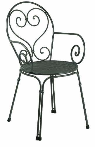 Emu 309102200 Pigalle Stapelstuhl mit Armlehne 910, pulverbeschichteter Stahl, antik eisen, 4er Set