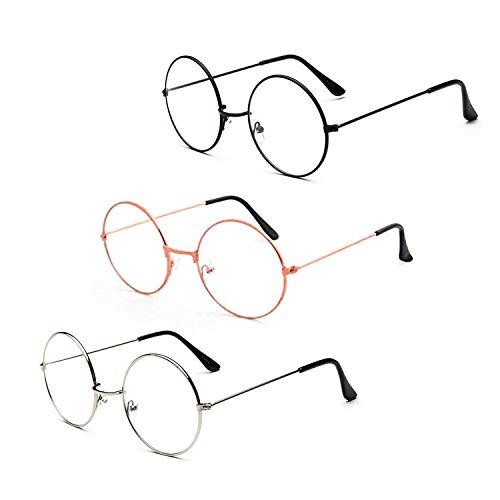 Metallrahmen Runde Brille,3 Pack Retro Metall Klare Linse Brillen Weinlese Klassiker Dekobrille Klassisches für Damen Herren Unisex, Schwarz Silber Roségold