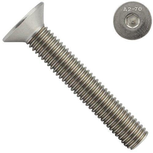 Senkkopfschrauben mit Innensechskant (ISK) - M8x70 - (20 Stück) - DIN 7991 / ISO 10642 - Vollgewinde - Senkschrauben - Werkstoff: Edelstahl A2 V2A - SC7991   SC-Normteile®