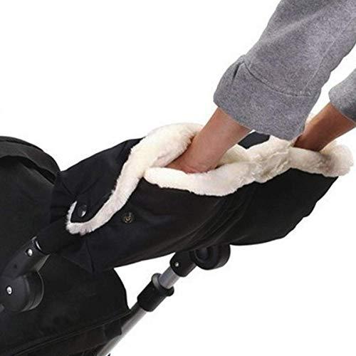 Winterwarme Kinderwagen Handschuhe, Handschuhe für kinderwagen,Kinderwagen Handwärmer Geeignet für die meisten Kinderwagen und Einzelwagen Kompatibel (Schwarz und weiß)