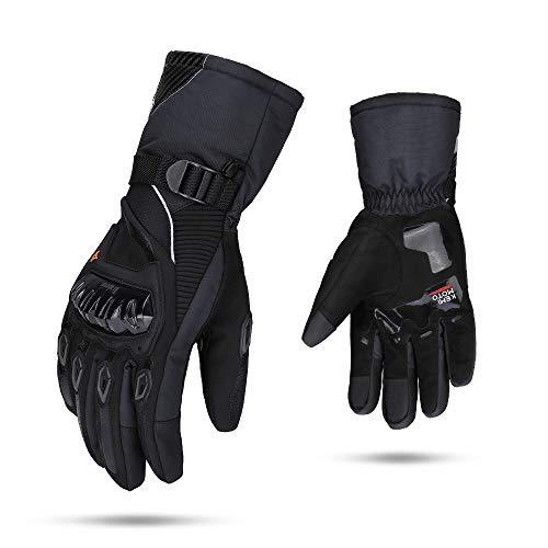 Winter Motorradhandschuhe, CE 2KP geprüfte Motorrad Handschuhe Winter, Touch Screen Handschuhe Wasserdicht Winddicht Sporthandschuhe Warm Handschuhe (XXL,Schwarz)