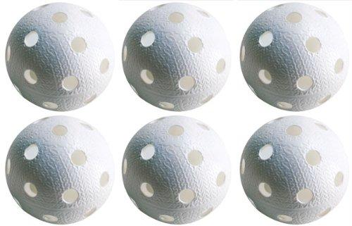 Realstick Floorball Unihockey Ball 6er Set Farbe: Weiß   Wettkampfball Trainingsball mit IFF Zertifikat für geprüfte Qualität