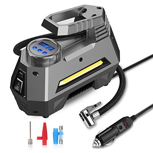 joyroom Auto Luftpumpe Elektrisch Luftkompressor Digital Tragbar air Compressor, 150PSI DC 12V Mehrzweck-Luftkompressor mit LED-Licht für Auto, Fahrrad, Motorrad, Basketball und Andere Schlauchboote