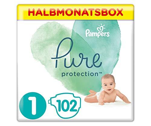 Pampers Baby Windeln Größe 1 (2-5 kg) Pure Protection, 102 Stück, HALBMONATSBOX, Mit Premium-Baumwolle Und Pflanzenbasierten Materialien