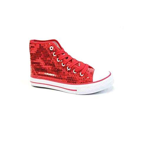 Unbekannt Pailletten Schuhe Glitzer 36-42 Damen & Herren 9 Farben (38, Rot)