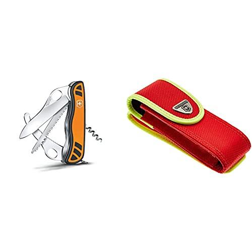 Victorinox Taschenmesser Hunter XT Grip (6 Funktionen, Feststellbare Waidklinge, Kordel) orange/schwarz & Zubehör Gürteltasche Nylon rot/gelb für Rescue Tool Mantel, One Size