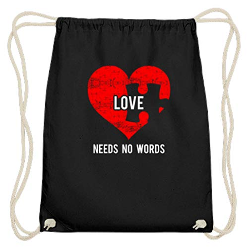 generisch Cooles Liebe braucht keine Worte Puzzle Herz Love Autismus Vertrauen Partner - Baumwoll Gymsac -37cm-46cm-Schwarz