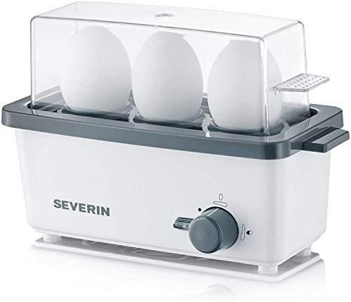 SEVERIN EK 3161 Eierkocher (Inkl. Wasser-Messbecher mit Eierstecher, 3 Eier, Signalton) weiß/grau
